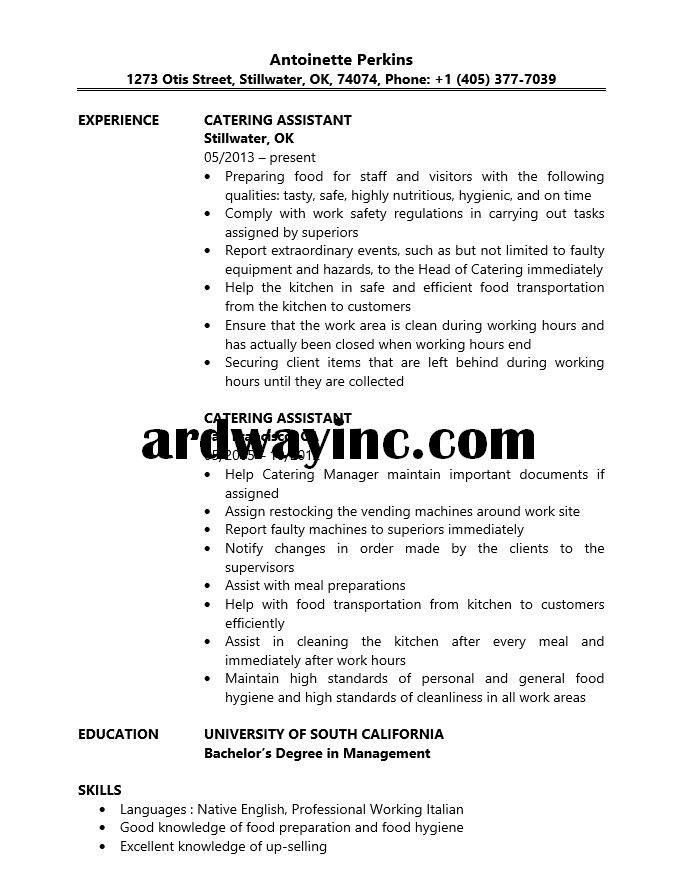 Catering Assistant Resume sample