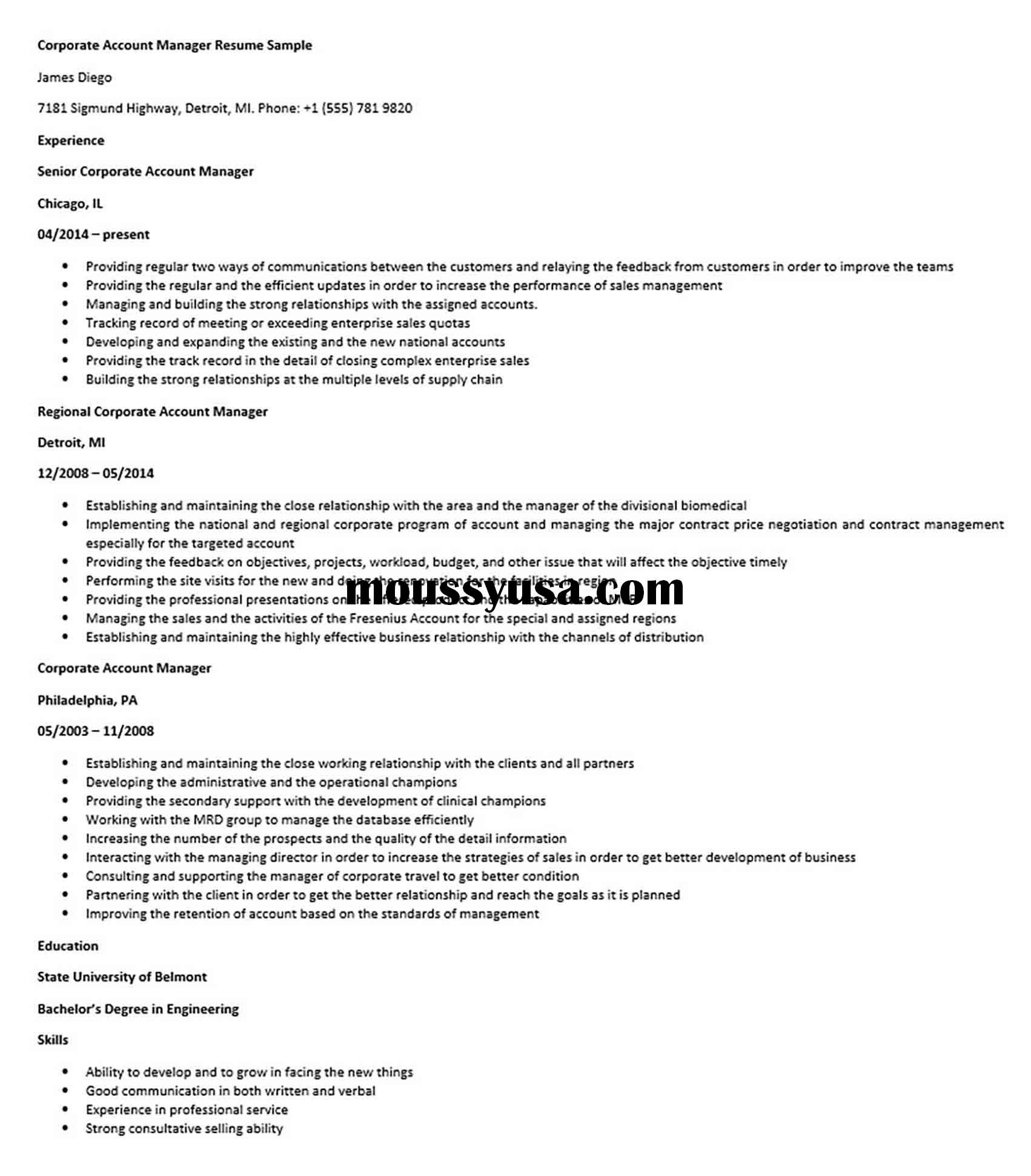 Corporate Account Manager Resume Sample