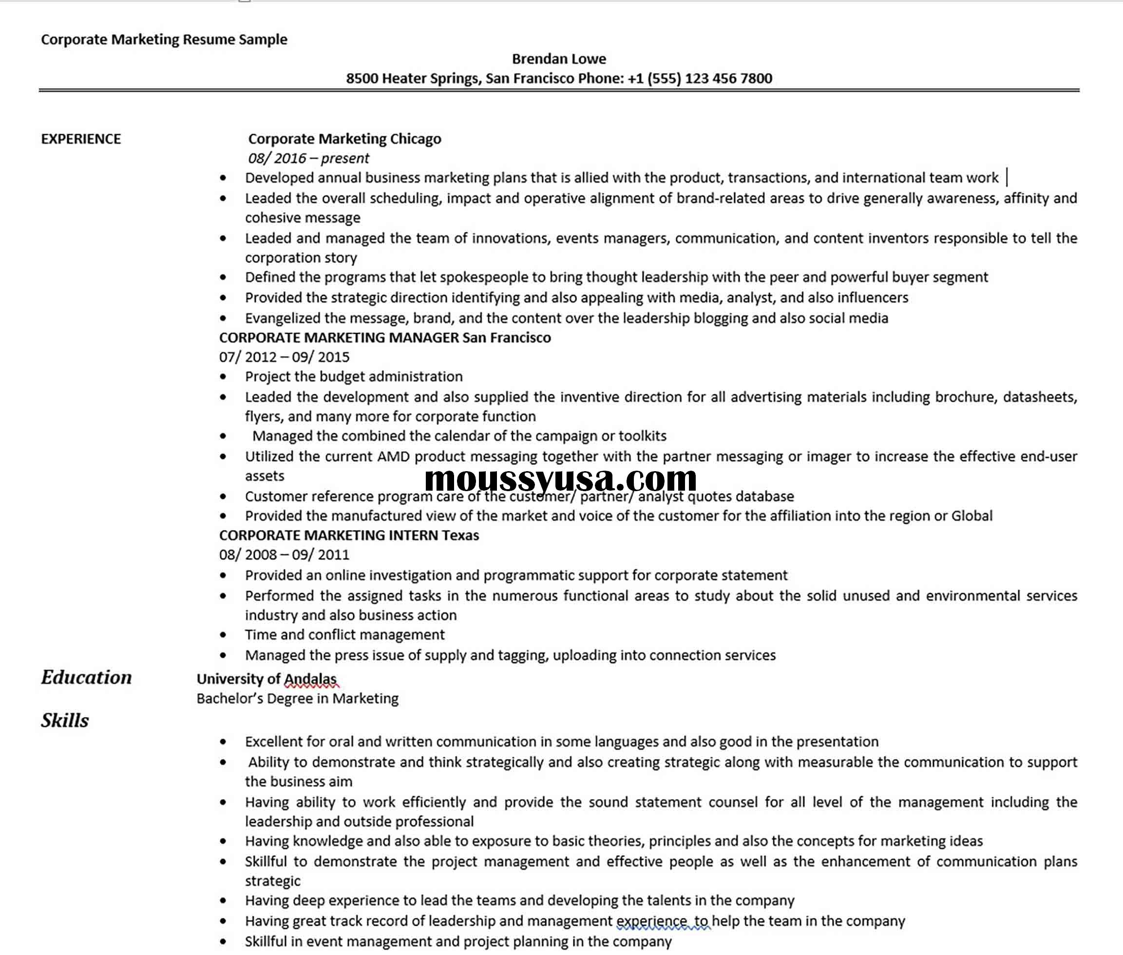 Corporate Marketing Resume Sample