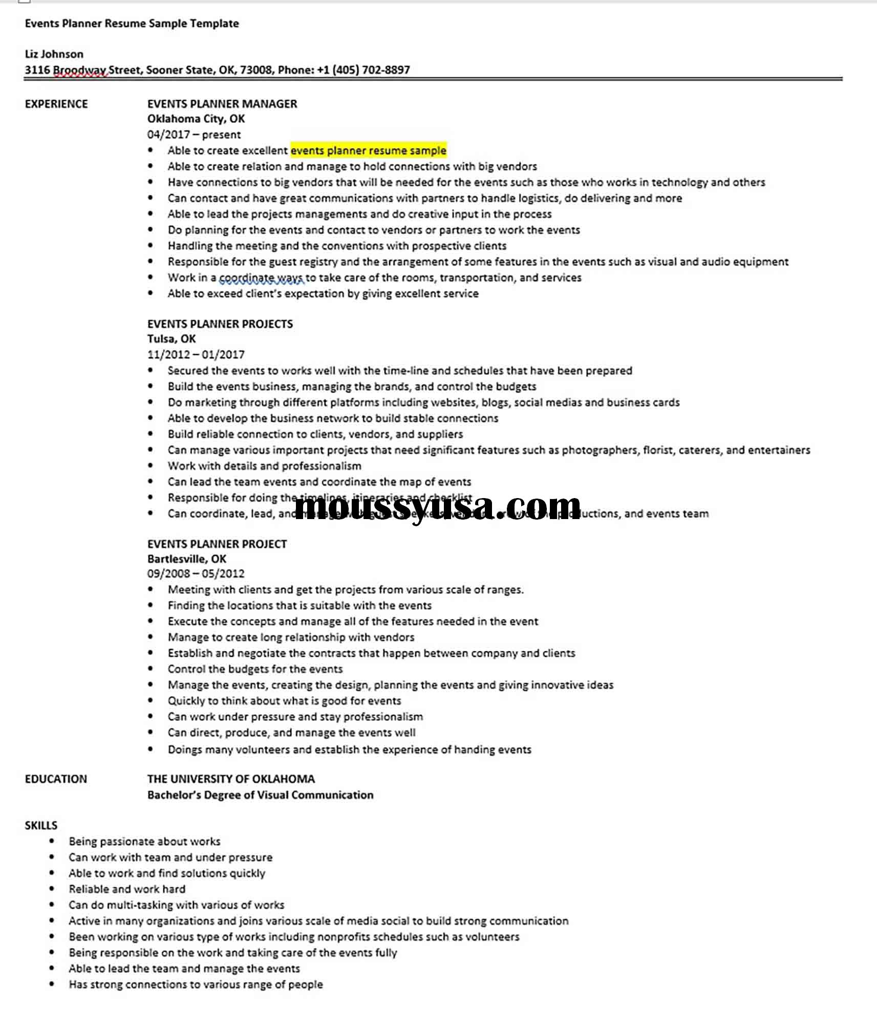 Events Planner Resume Sample Template 1