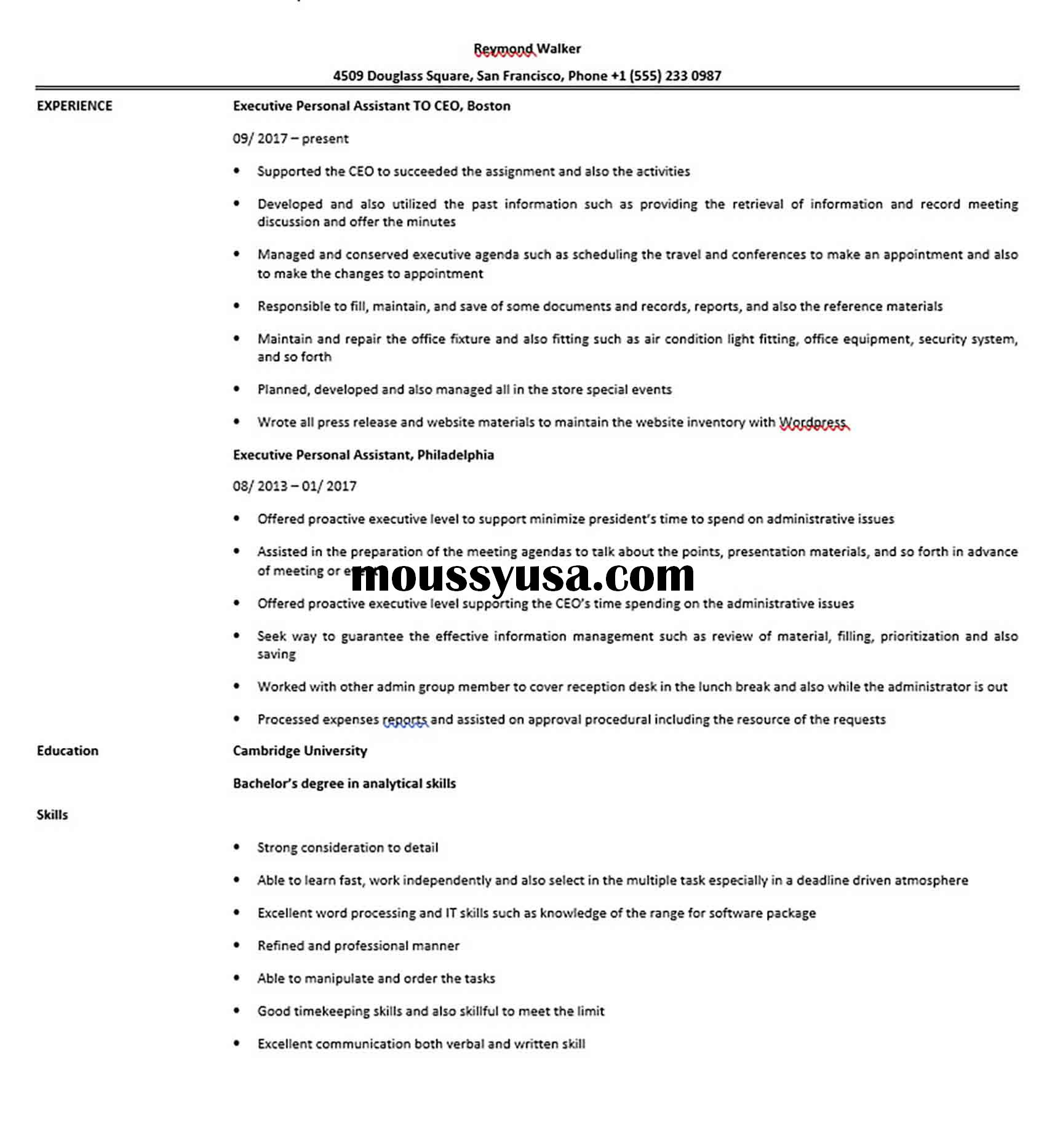 Executive Personal Assistant Resume Sample