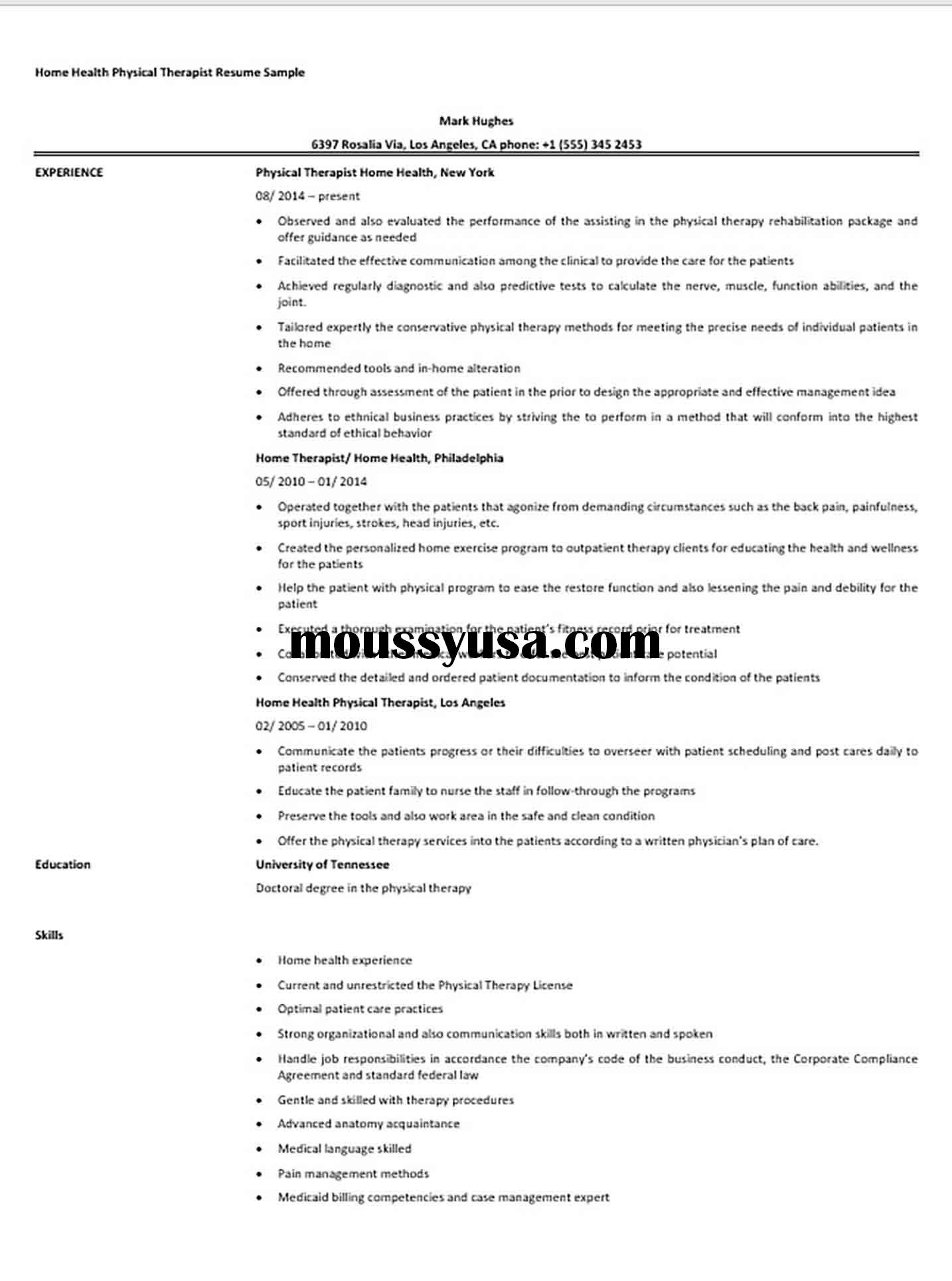 Home Health Physical Therapist Resume Sample
