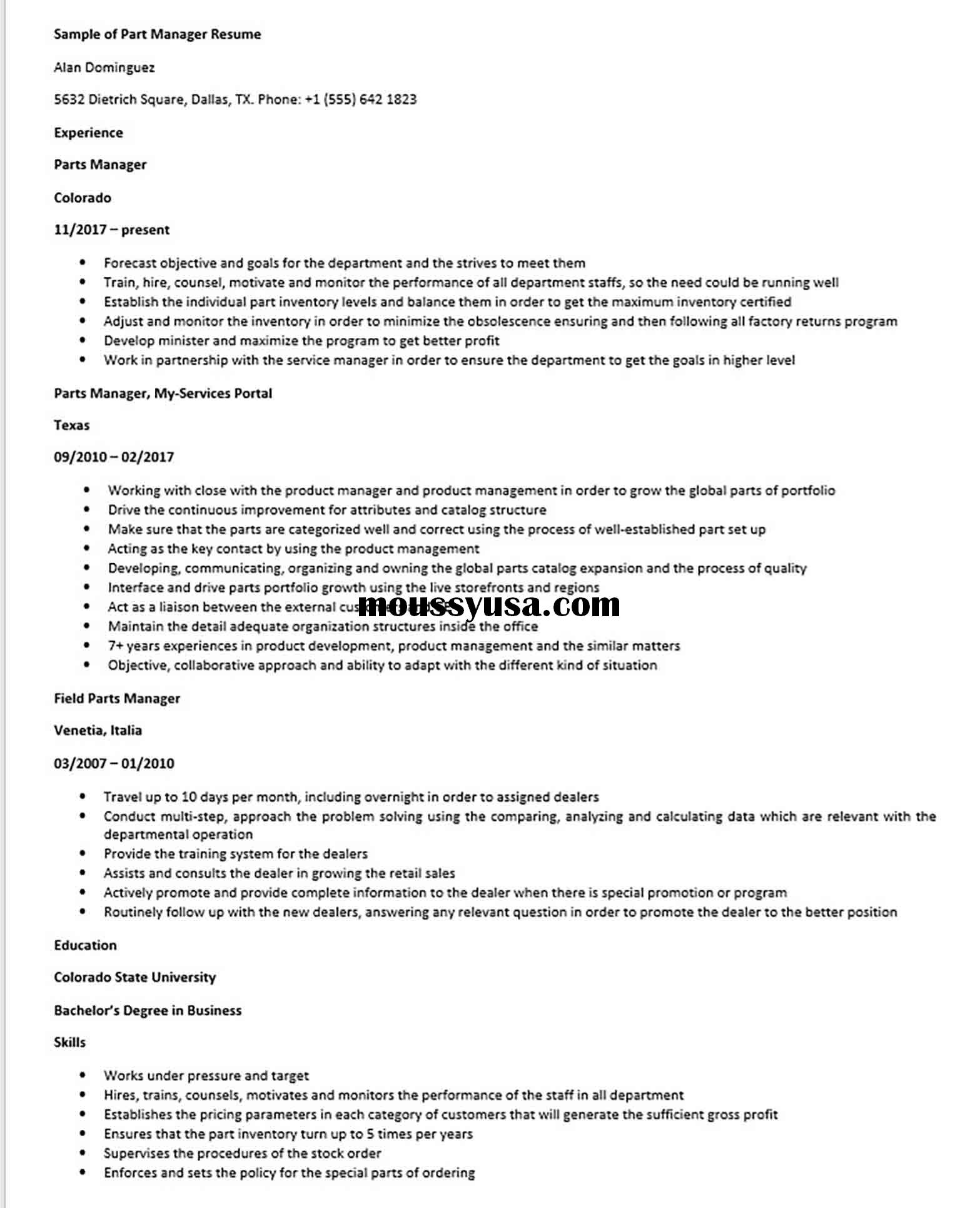 Sample of Part Manager Resume