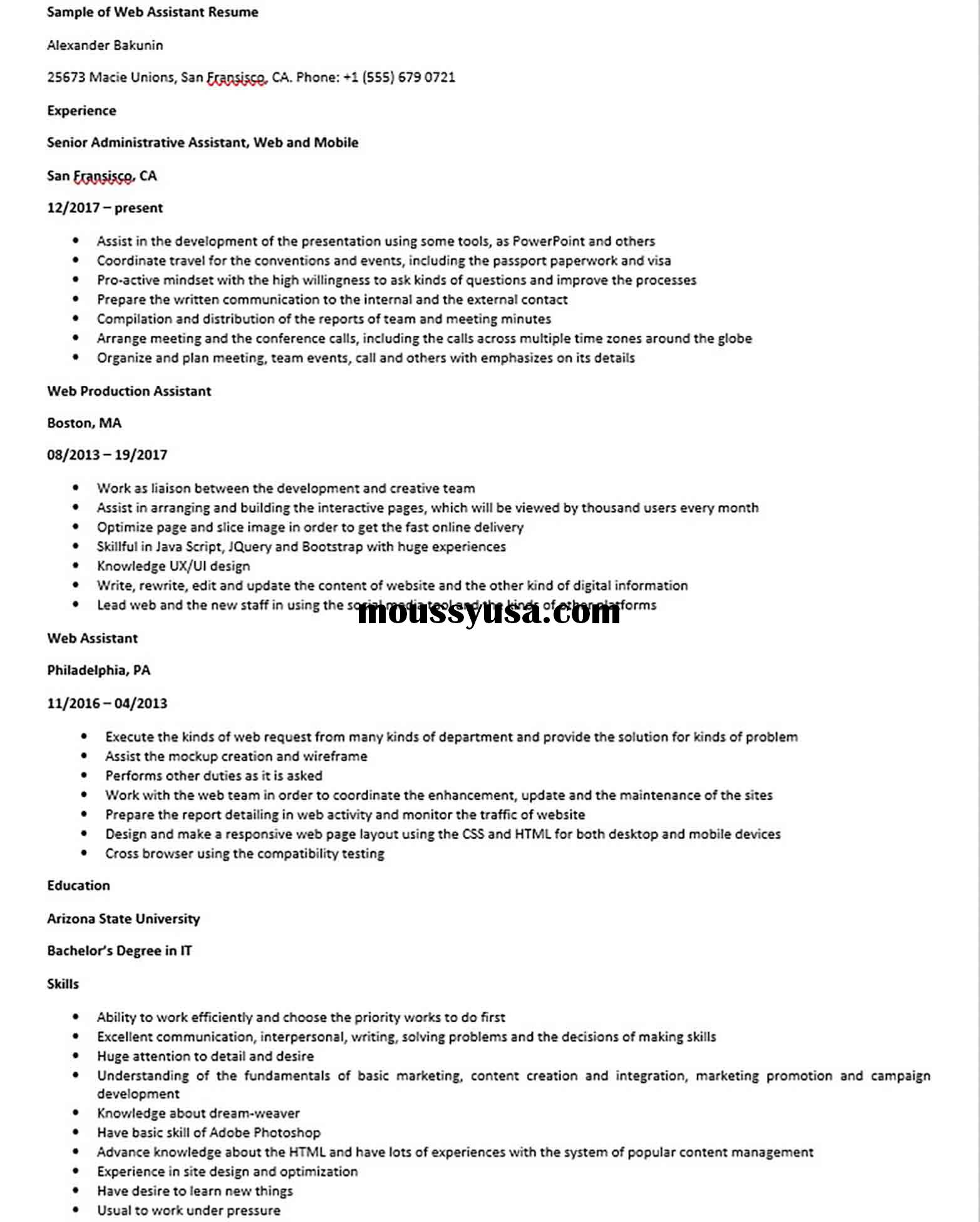 Sample of Web Assistant Resume