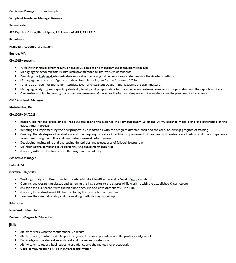 Academic Manager Resume Sample