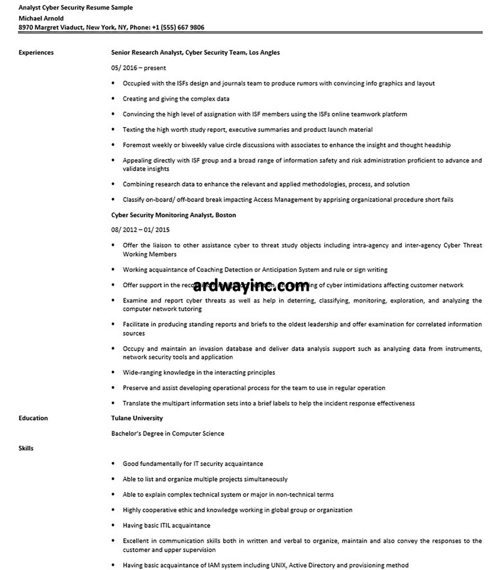 Analyst Cyber Security Resume Sample