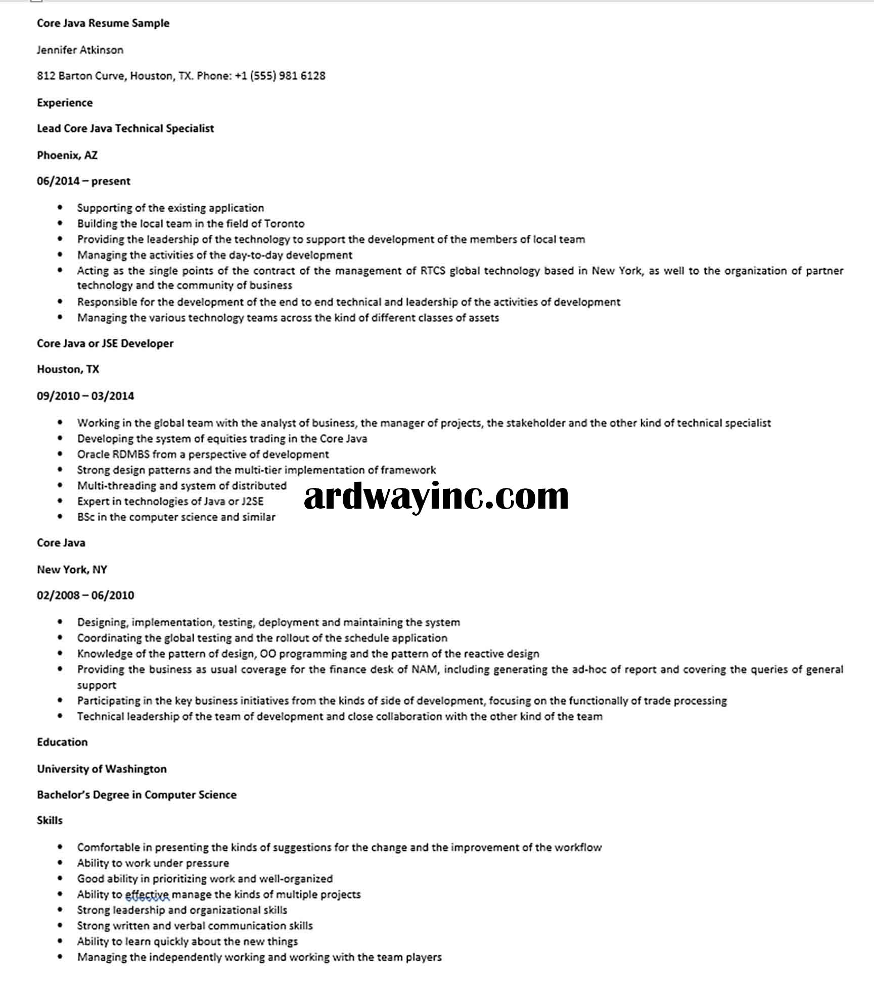 Core Java Resume Sample