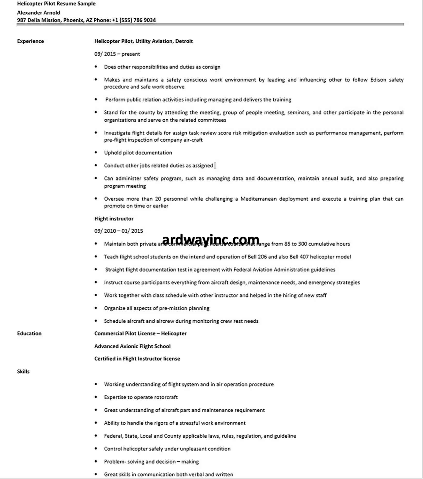 Helicopter Pilot Resume Sample