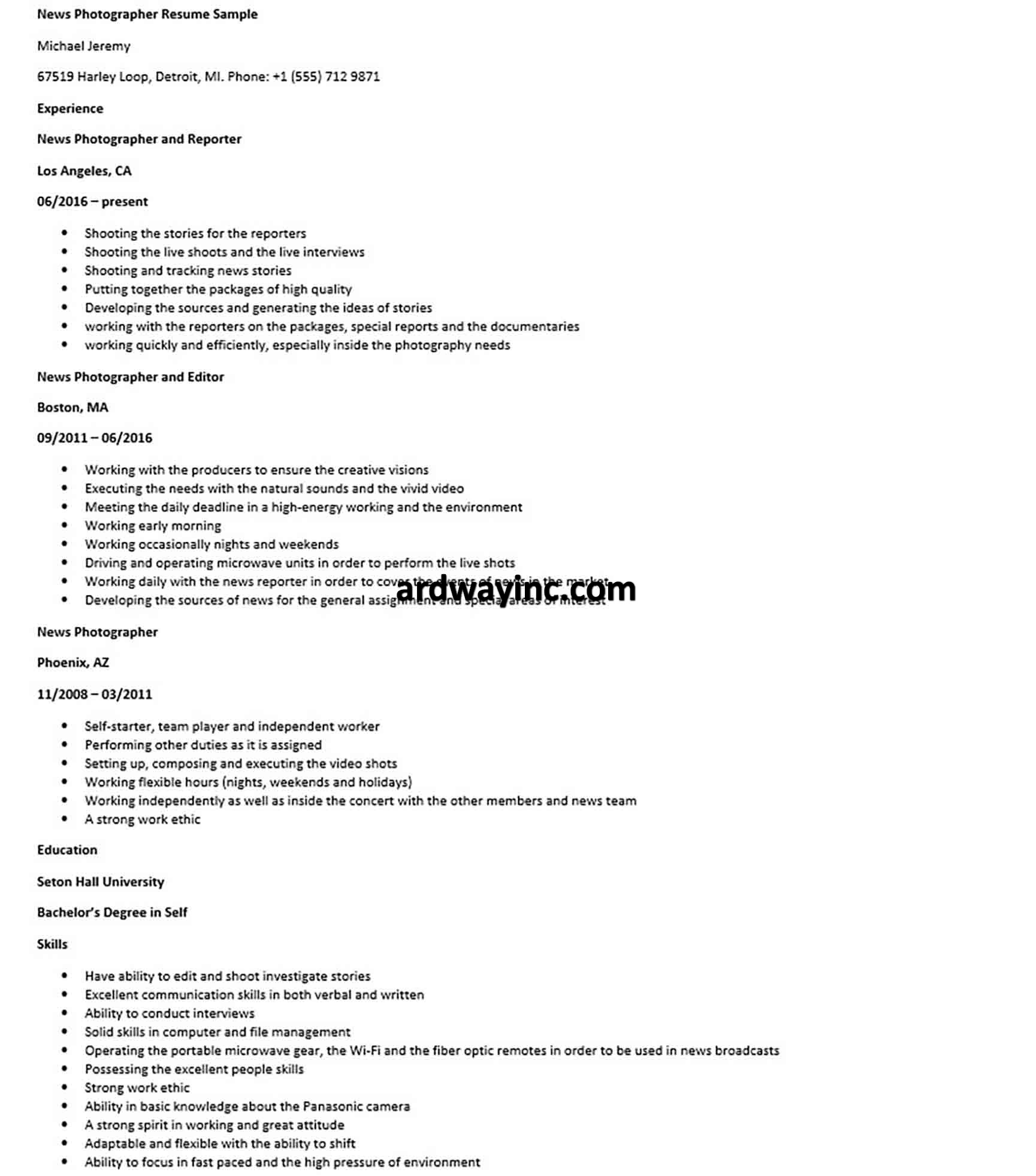 News Photographer Resume Sample