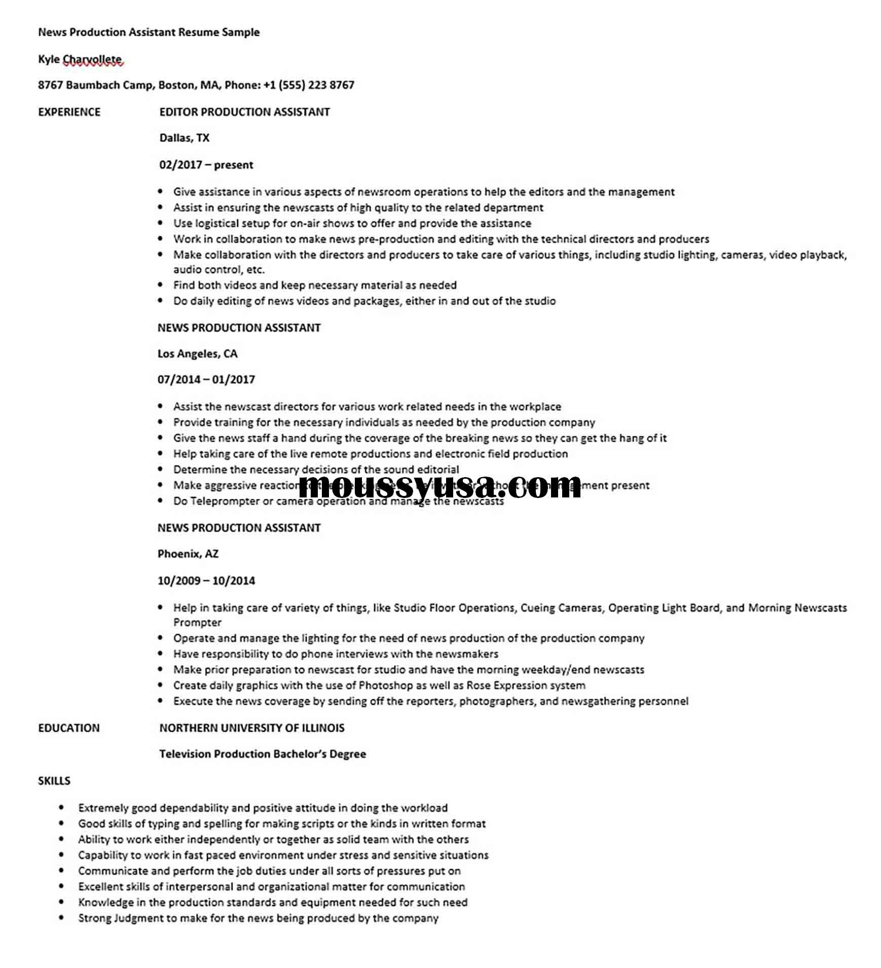 News Production Assistant Resume Sample