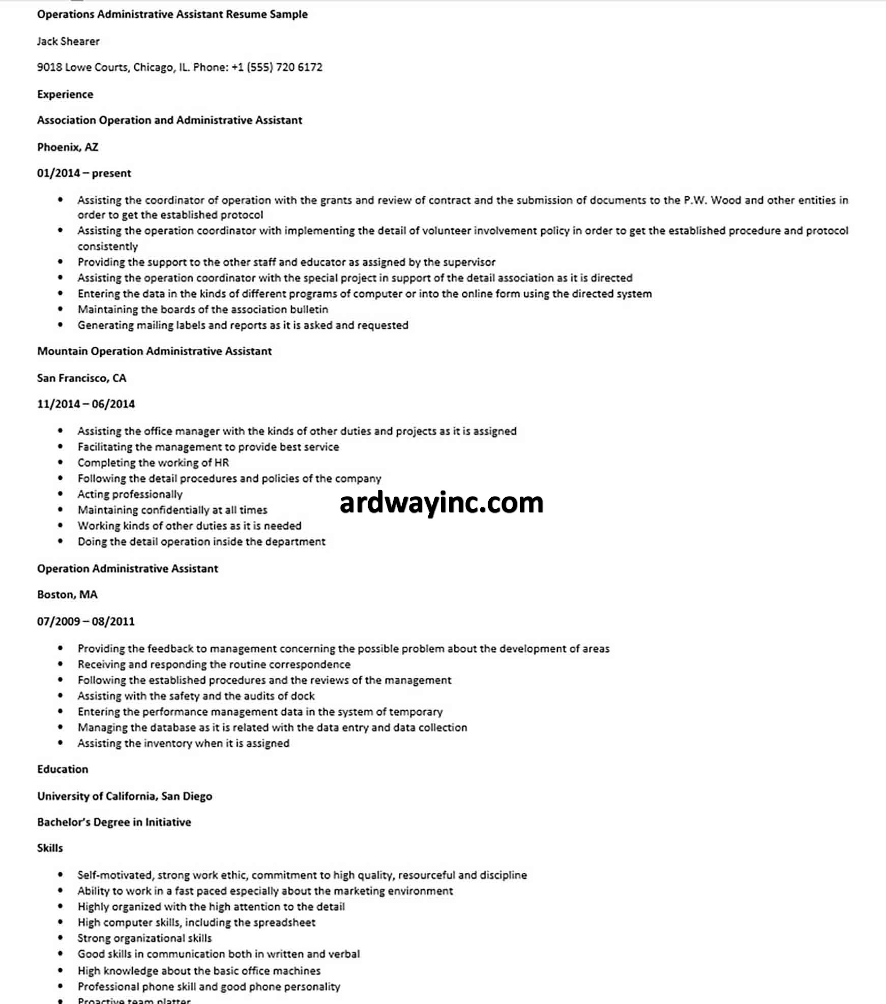 Operations Administrative Assistant Resume Sample