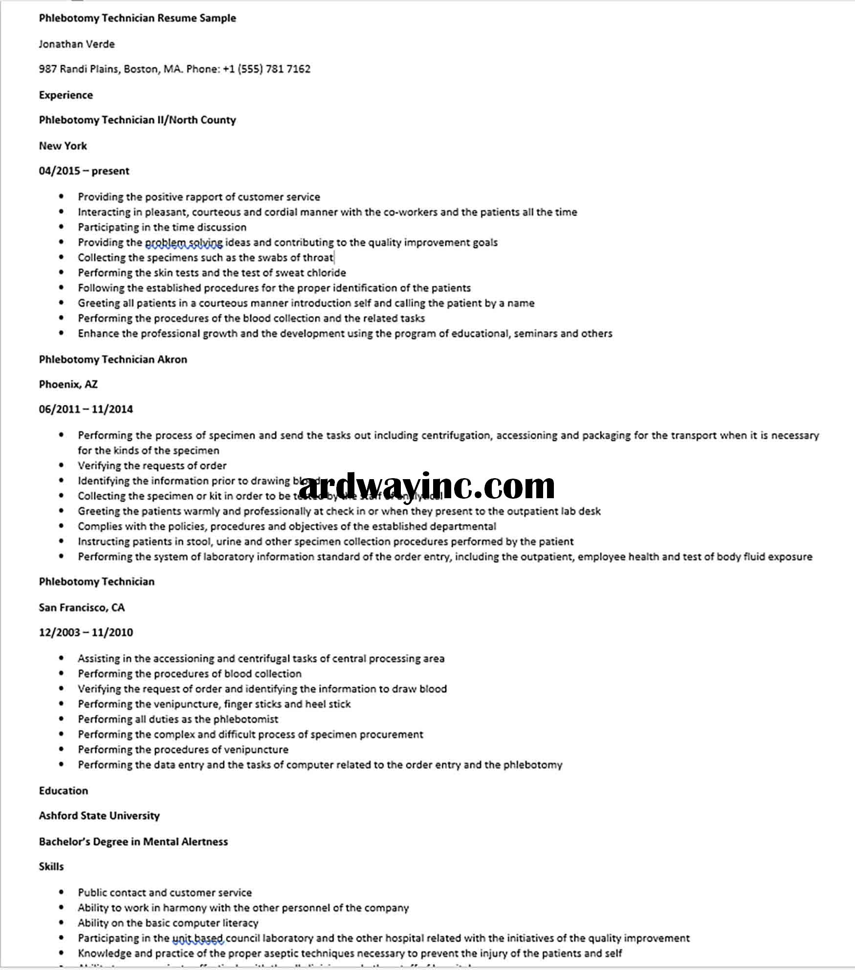 Phlebotomy Technician Resume Sample