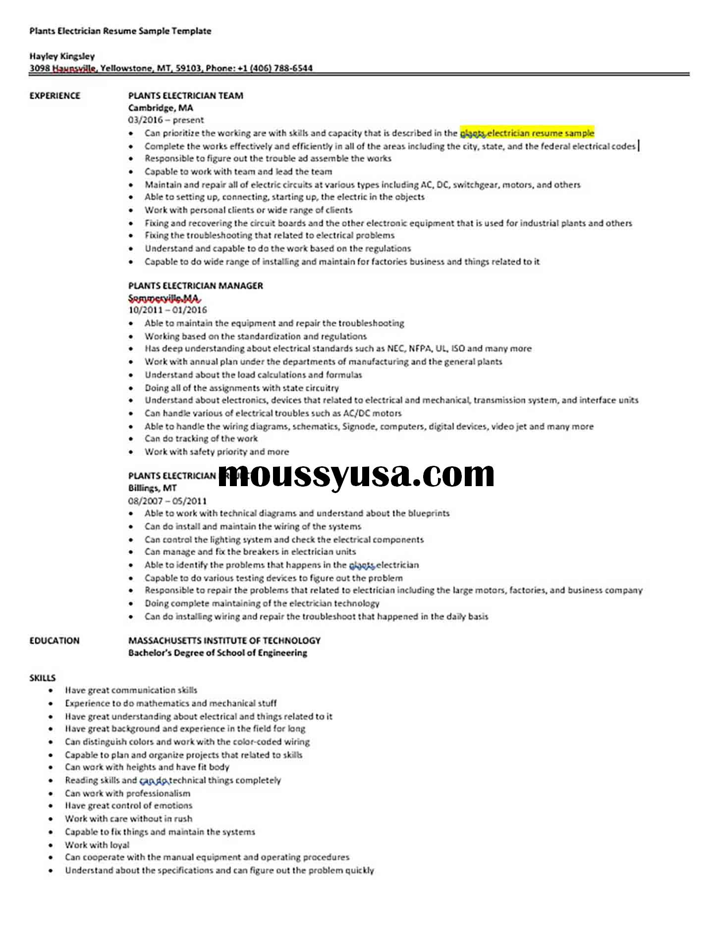 Plants Electrician Resume Sample Template