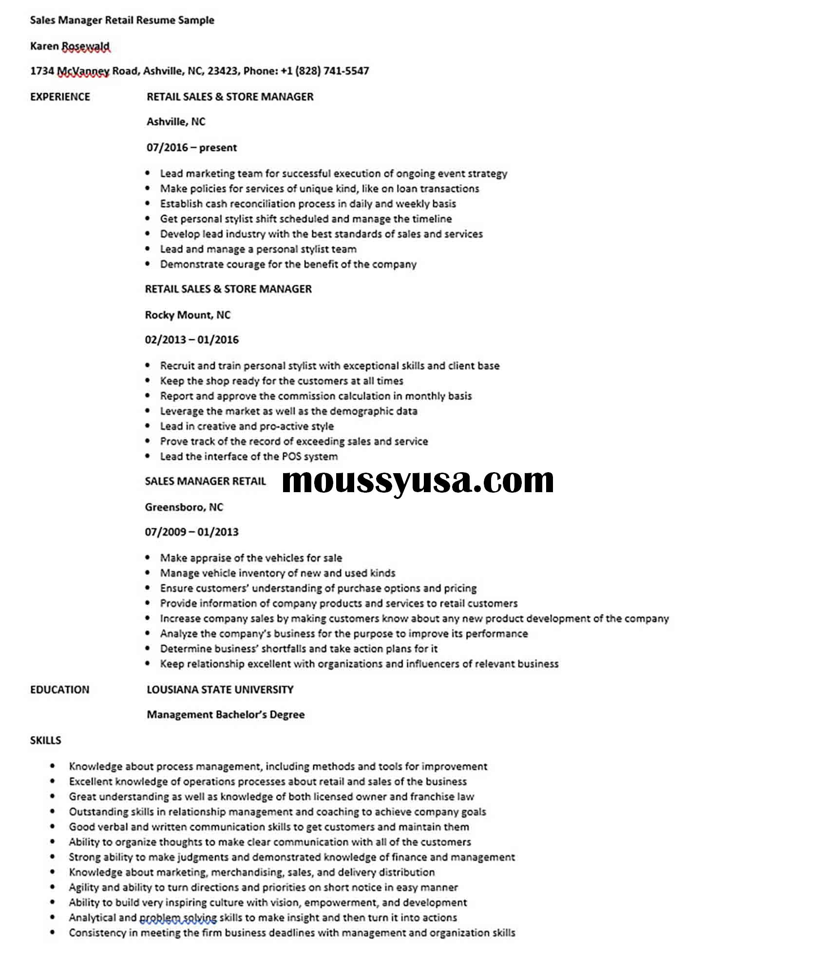 Sales Manager Retail Resume Sample