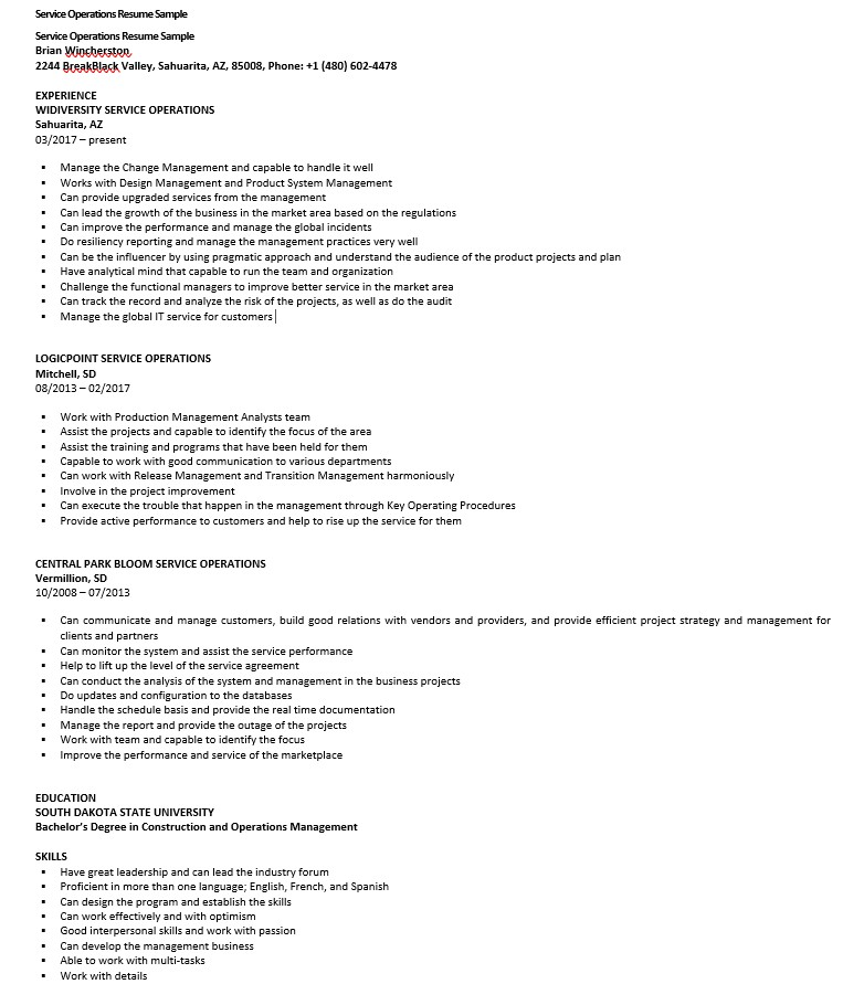 Service Operations Resume Sample
