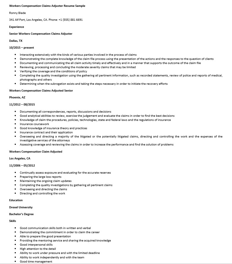 Workers Compensation Claims Adjuster Resume Sample