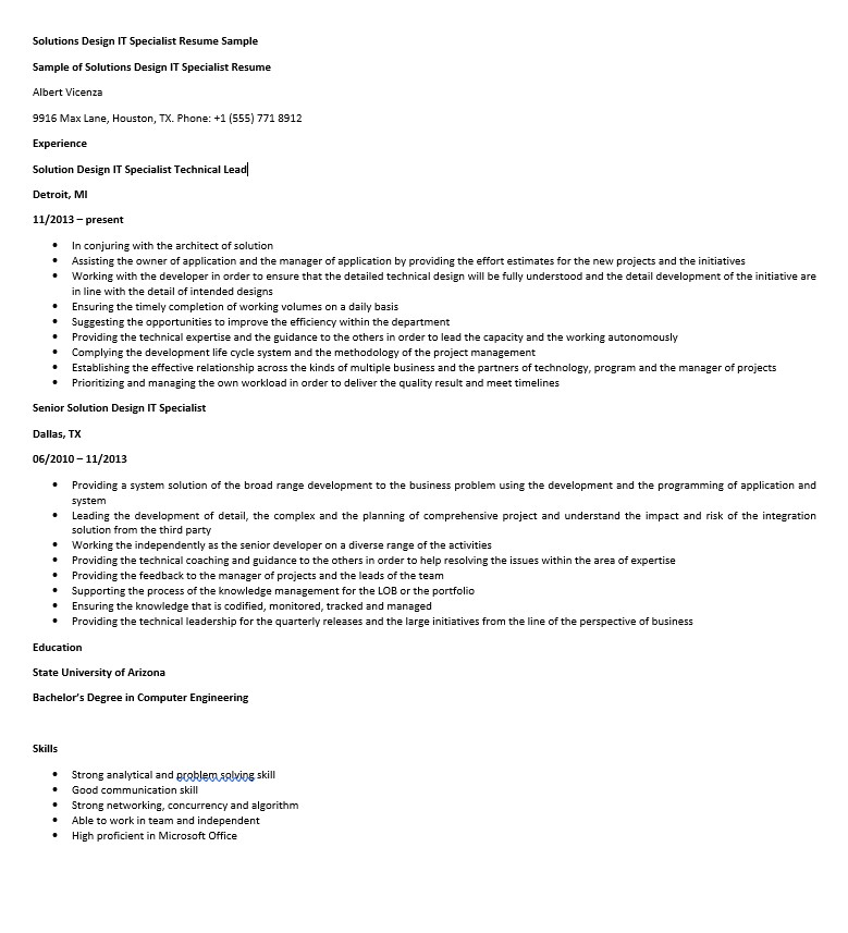 solutions design it specialist resume sample