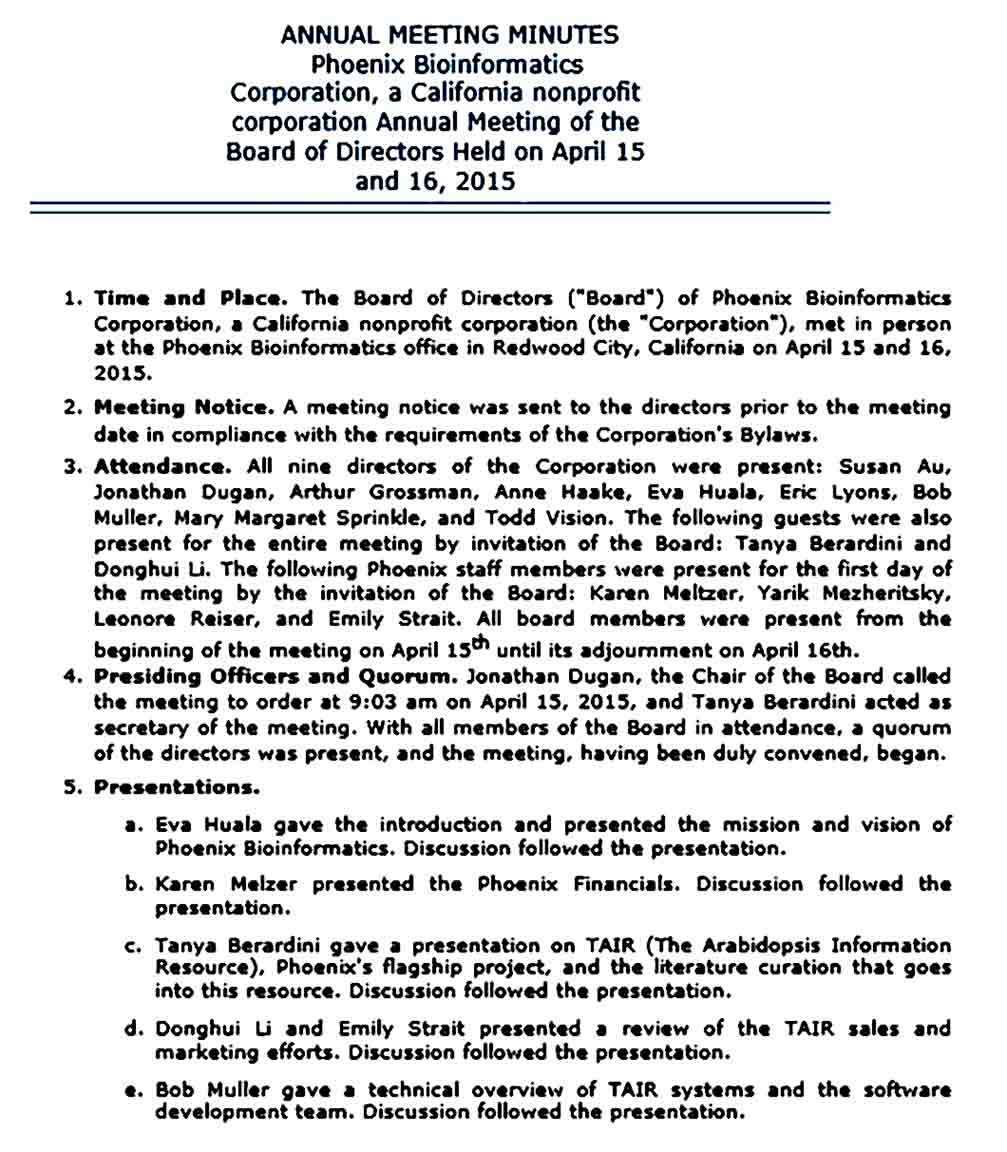 Annual Meeting Minutes templates