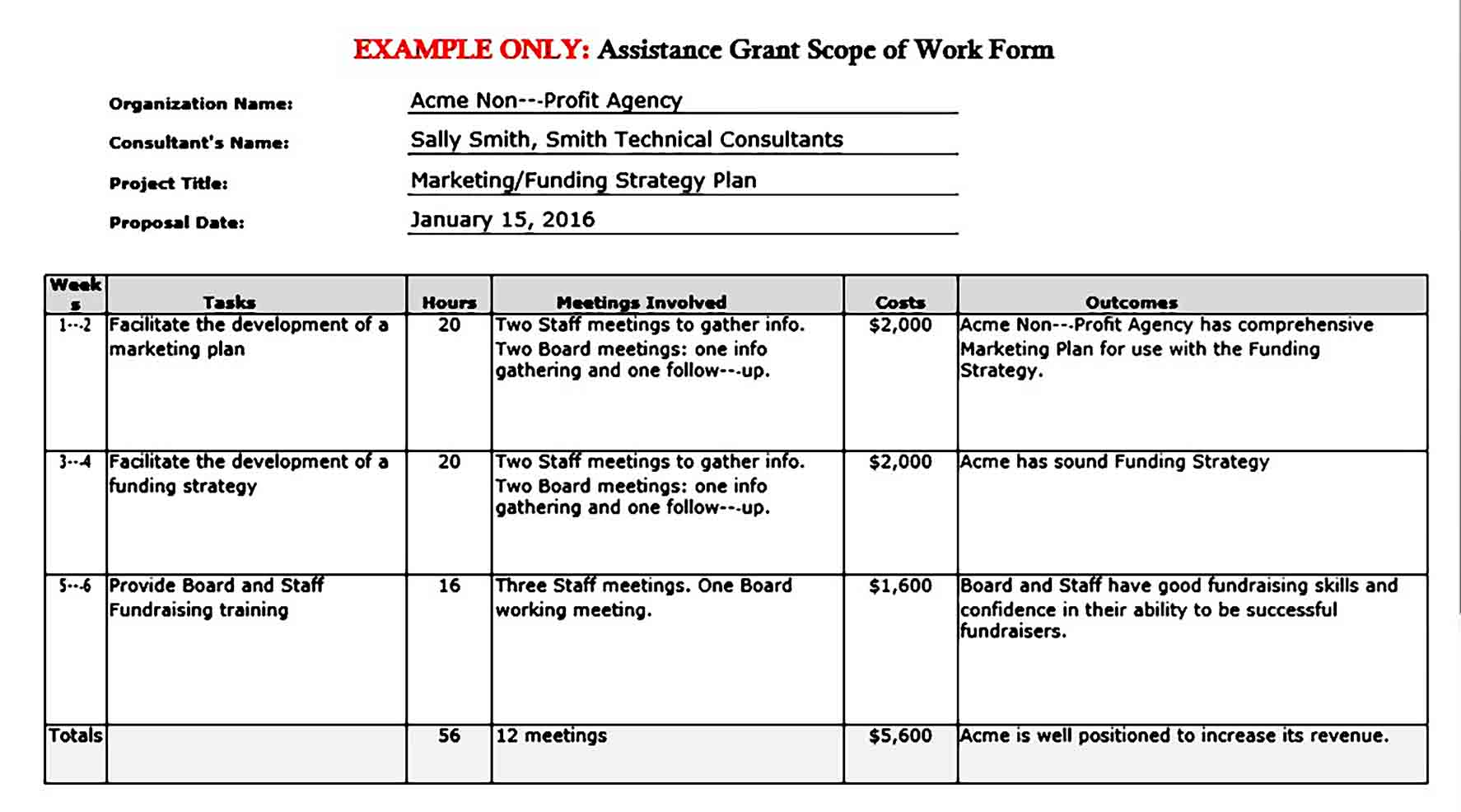 Assistance Grant Example Project Scope of Work Form