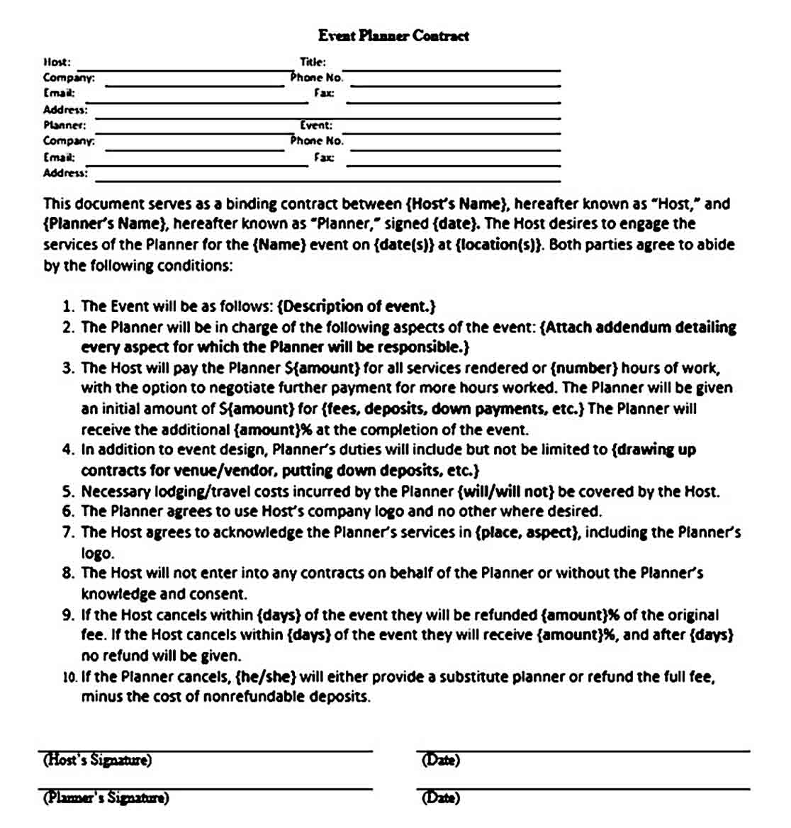 Basic Event Planner Contract Sample