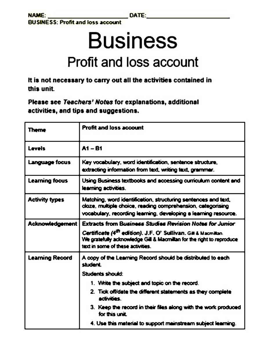 Business Profit and Loss templates
