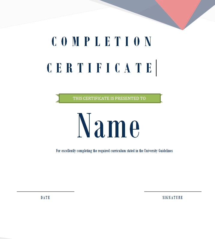 Certificate of Completion Template 03