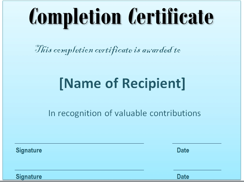 Certificate of Completion Template 05