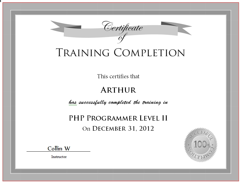 Certificate of Completion Template 16
