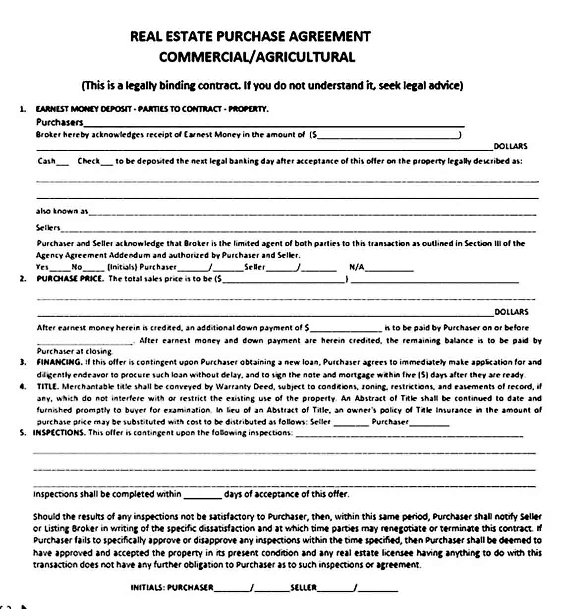 Commercial Real Estate Purchase Agreement
