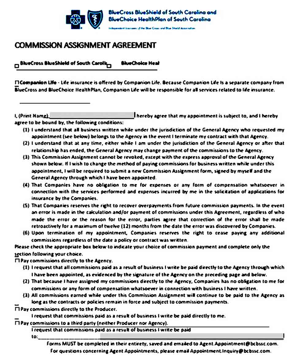 Commission Assignment Agreement