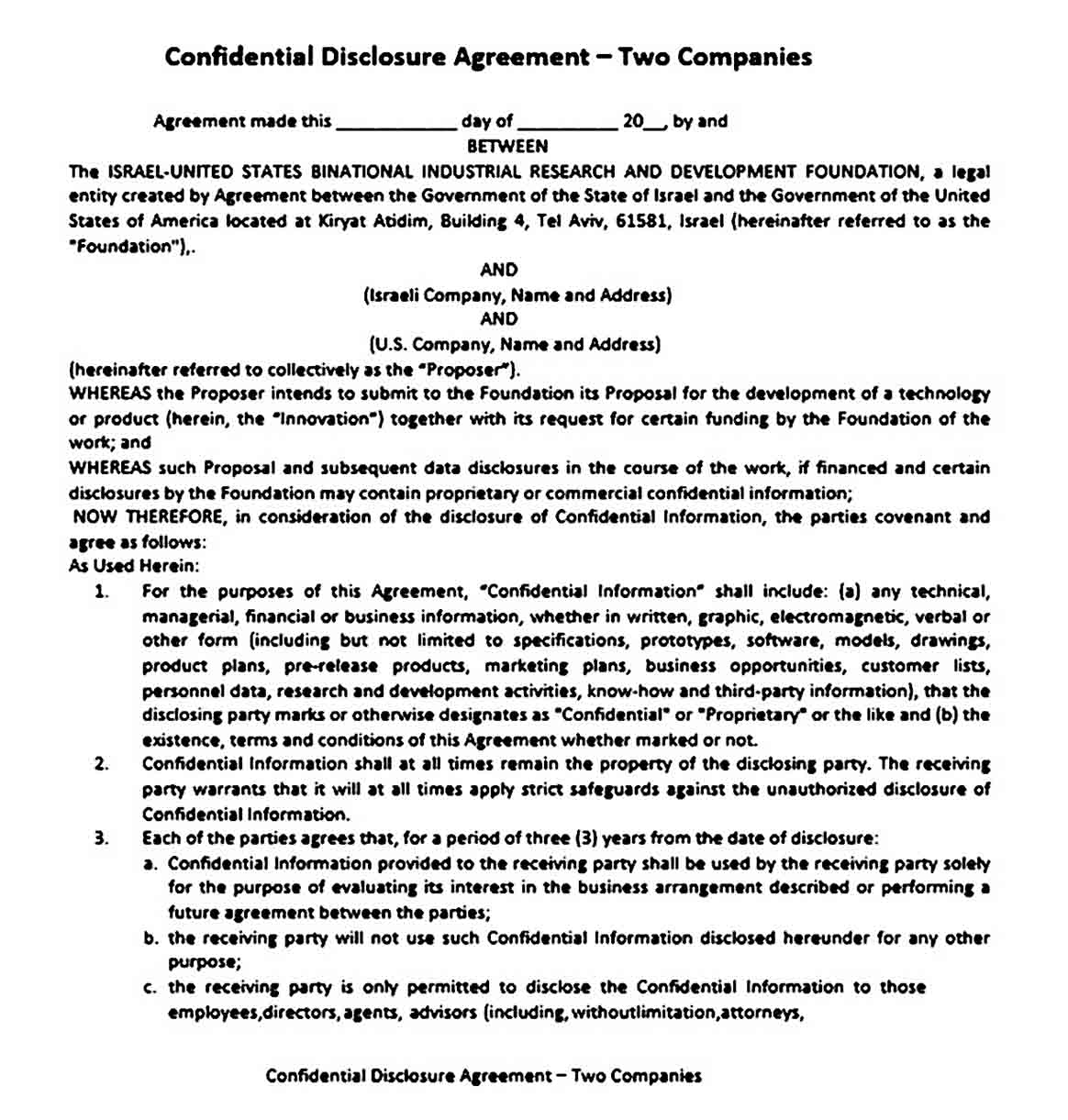Confidential Disclosure Business Agreement Between Two Parties