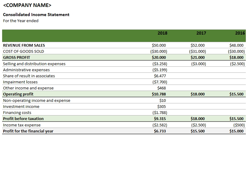 Consolidated Income Statement TemplateLab.com