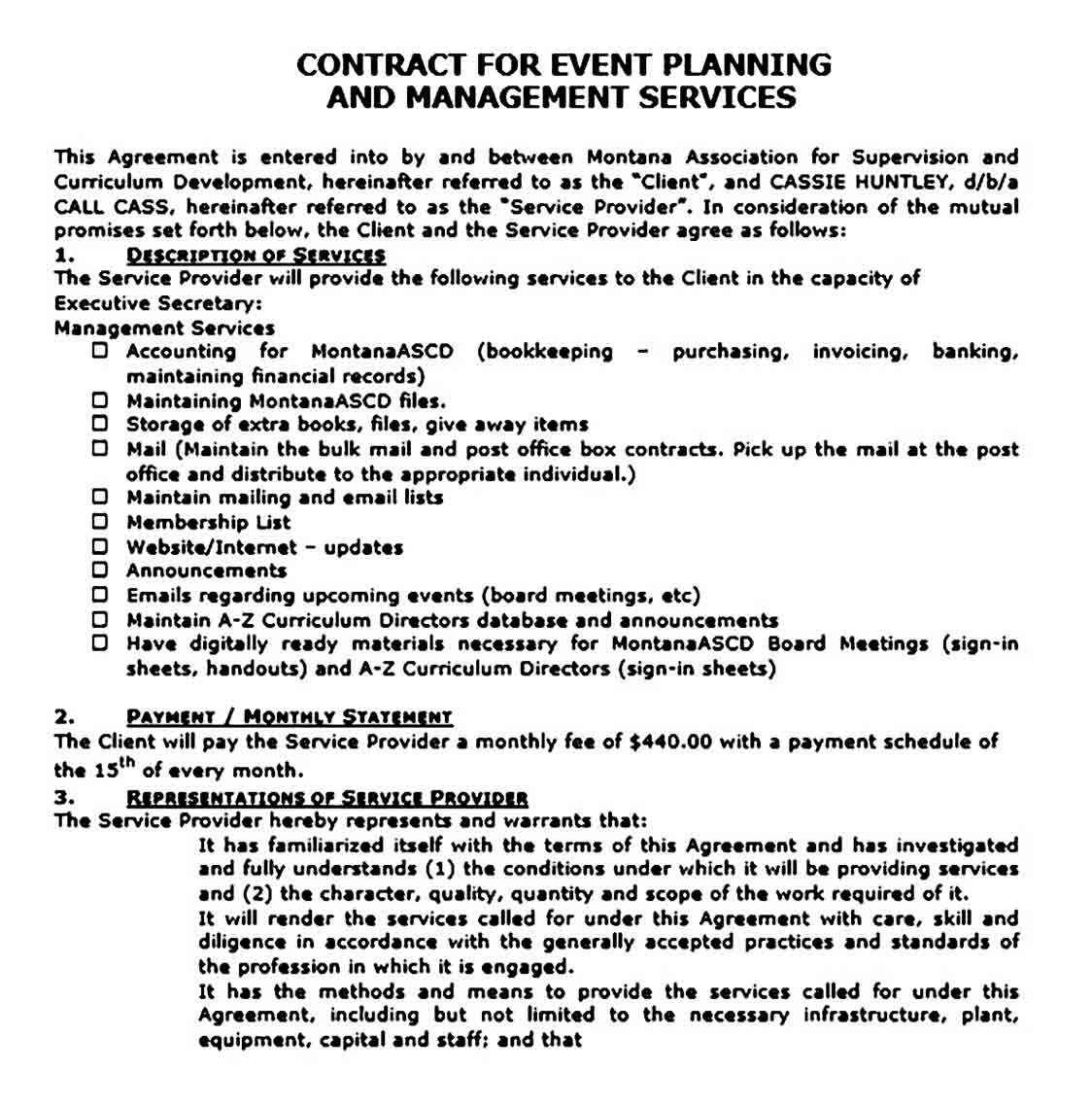 Contract for Event Planning and Management Services