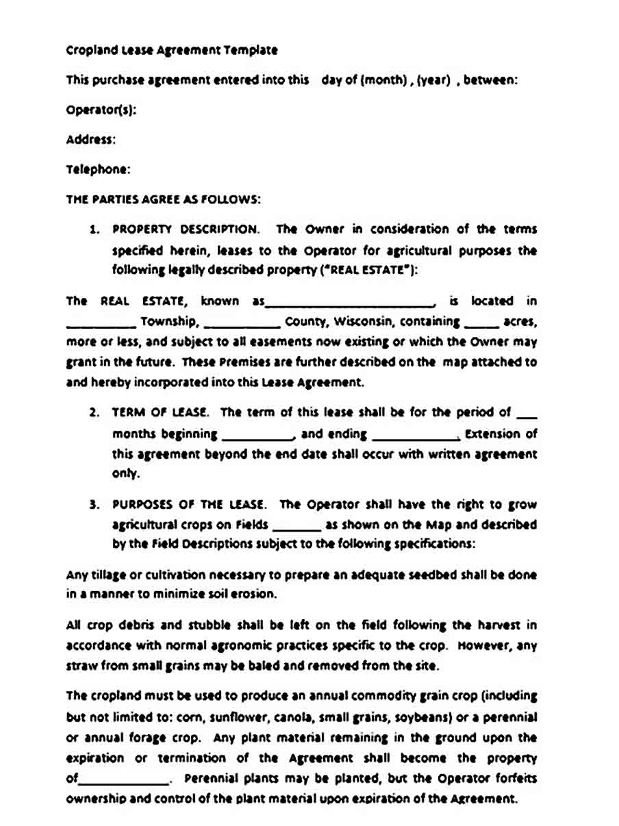 Crop Land Lease Agreement