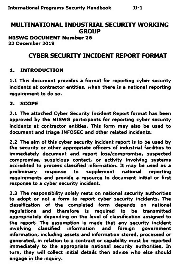 Cyber Security Incident Report Format