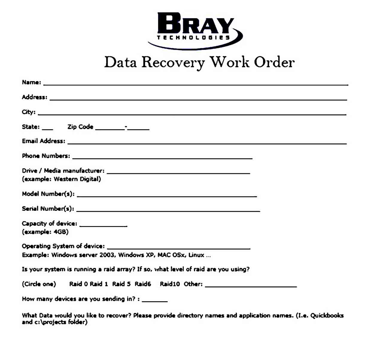 Data Recovery Work Order templates