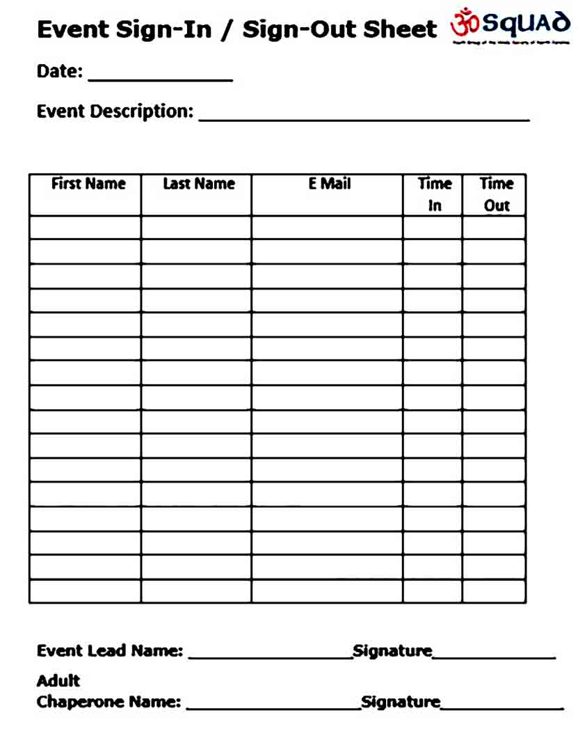 Event Signup Sheet