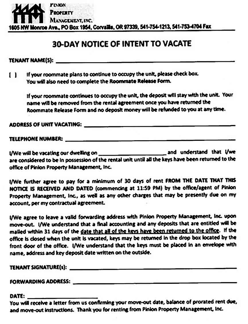 Eviction Notice for Roommate