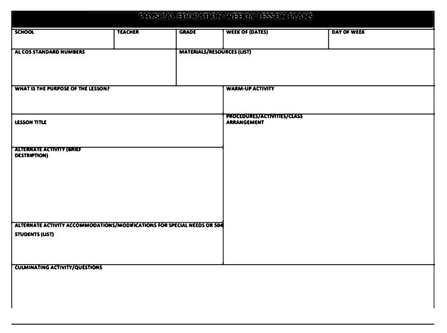 Example of Physical Education Lesson Plan templates