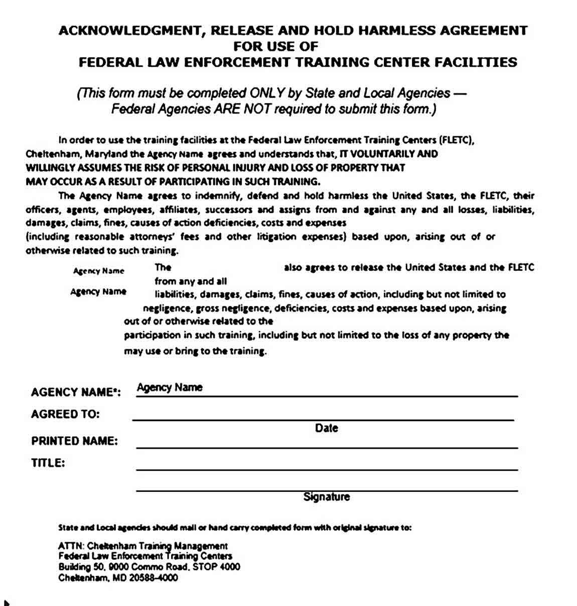 Hold Harmless Agreement Example