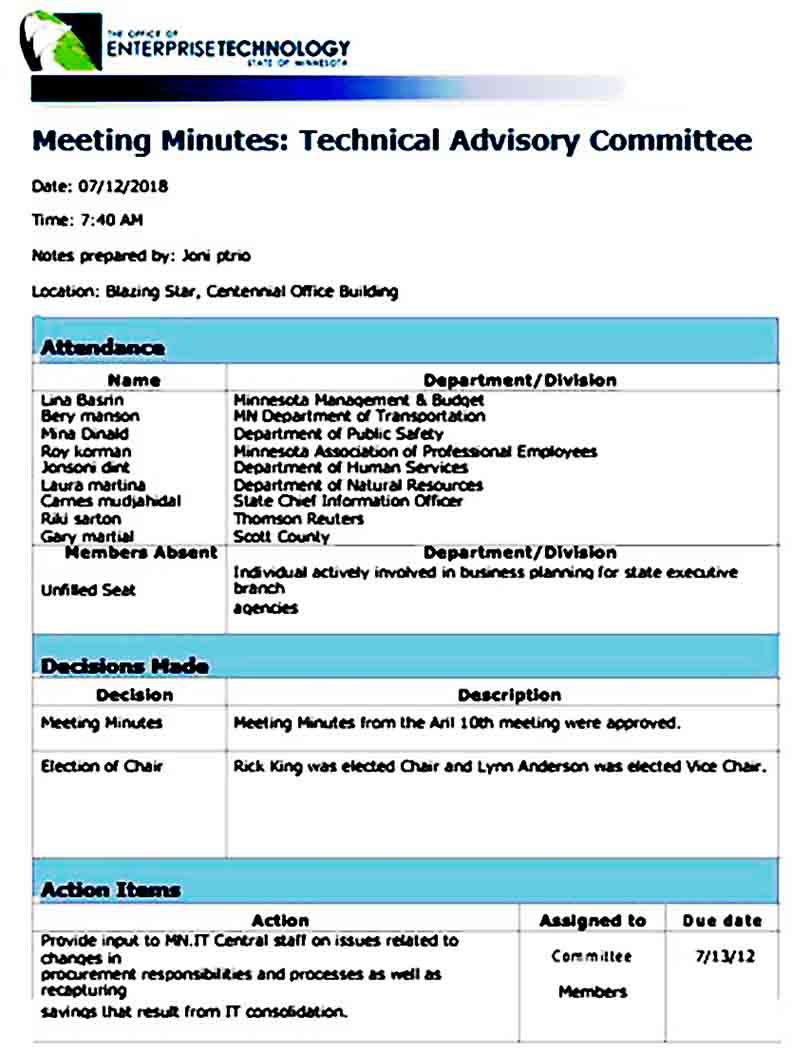 IT Meeting Minutes templates