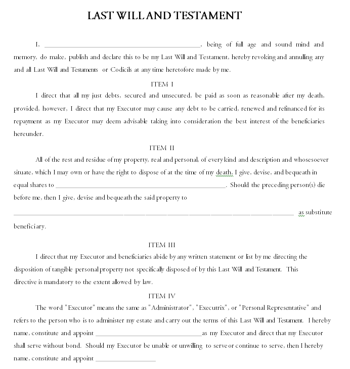 Last will and testament template 01.