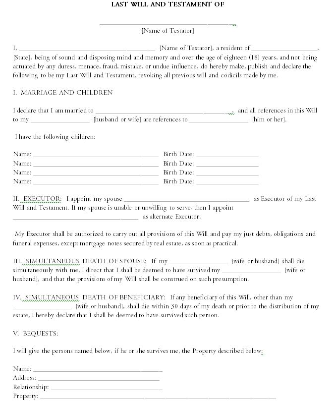 Last will and testament template 02