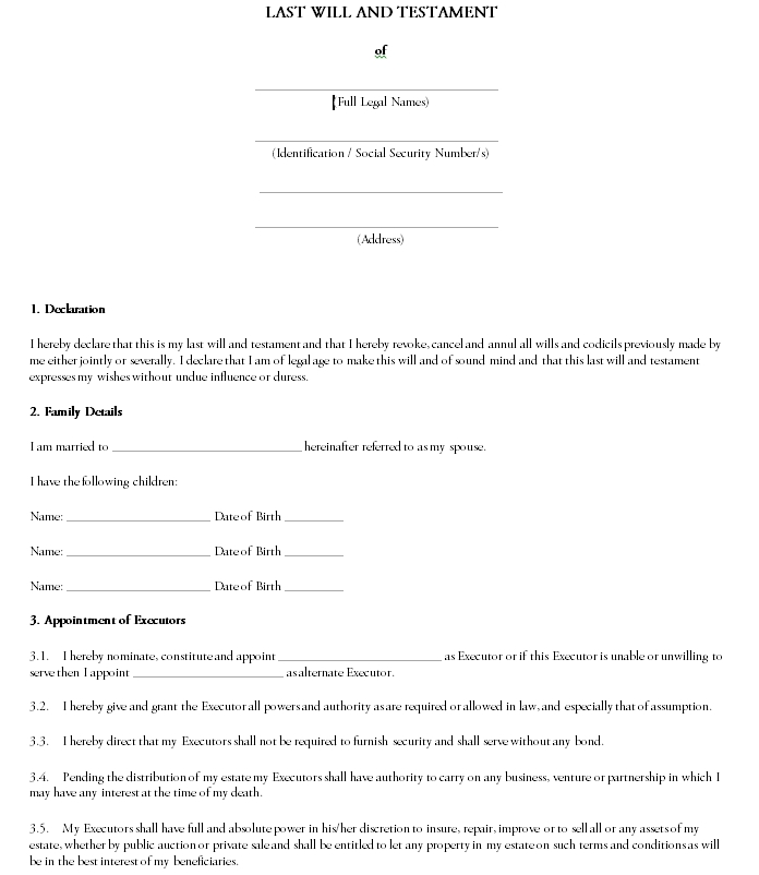 Last will and testament template 03