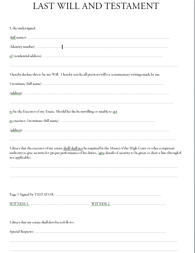 Last will and testament template 05