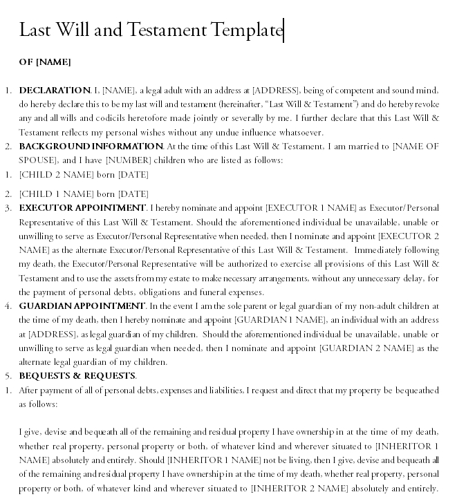Last will and testament template 06