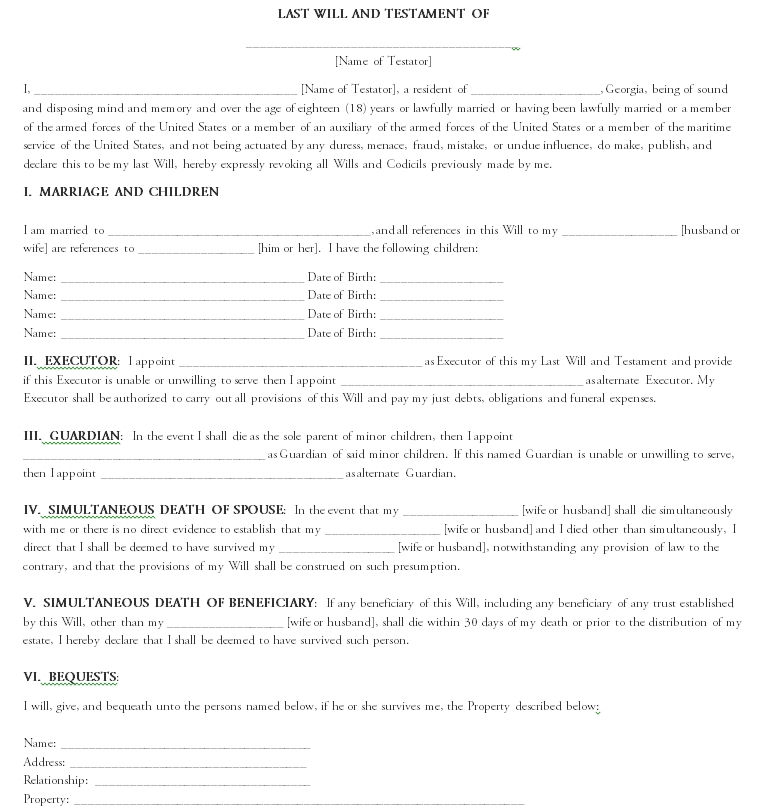 Last will and testament template 10