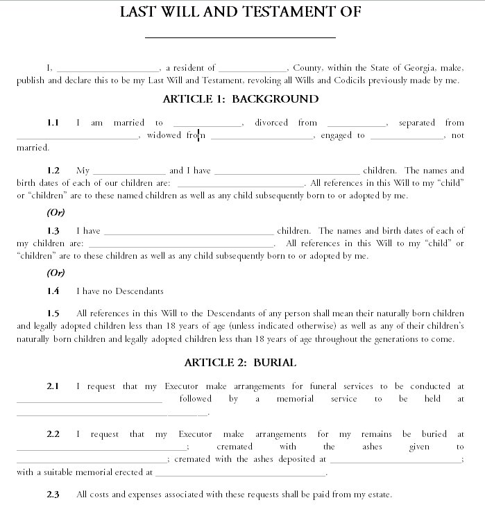 Last will and testament template 15