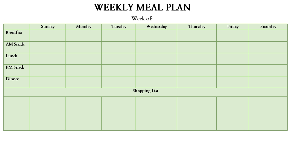 Meal Plan Template 26