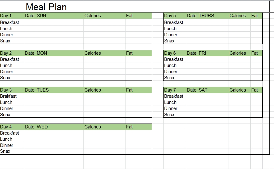 Meal Plan Template 35
